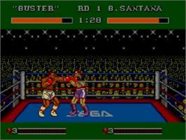 In game image of James 'Buster' Douglas Knockout Boxing on the Sega Master System.