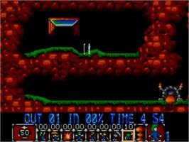 In game image of Lemmings on the Sega Master System.