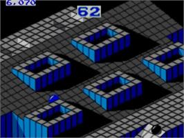 In game image of Marble Madness on the Sega Master System.