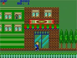 In game image of My Hero on the Sega Master System.
