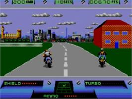 In game image of Out Run Europa on the Sega Master System.