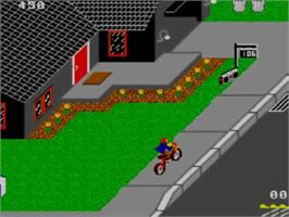 In game image of Paperboy on the Sega Master System.