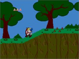 In game image of Quest for the Shaven Yak starring Ren Hoëk & Stimpy on the Sega Master System.