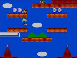 In game image of Rainbow Islands: The Story of Bubble Bobble 2 on the Sega Master System.