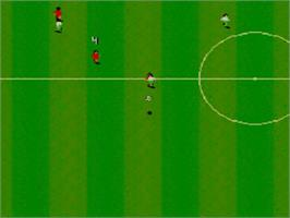 In game image of Sensible Soccer: European Champions: 92/93 Edition on the Sega Master System.