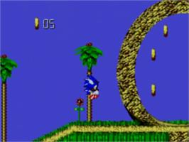 In game image of Sonic Blast on the Sega Master System.