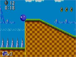 In game image of Sonic The Hedgehog on the Sega Master System.