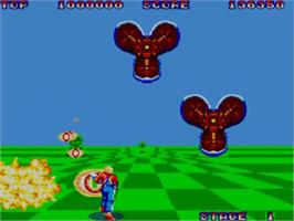 In game image of Space Harrier on the Sega Master System.