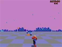 In game image of Space Harrier 3-D on the Sega Master System.