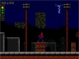 In game image of Spider-Man: Return of the Sinister Six on the Sega Master System.