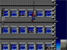 In game image of Spider-Man vs. the Kingpin on the Sega Master System.