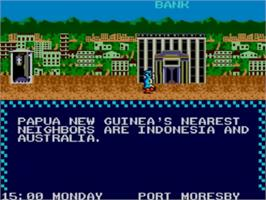 In game image of Where in the World is Carmen Sandiego on the Sega Master System.