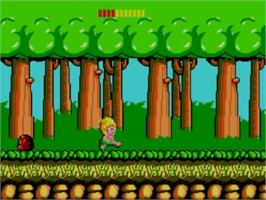 In game image of Wonder Boy on the Sega Master System.
