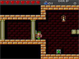 In game image of Wonder Boy III: The Dragon's Trap on the Sega Master System.