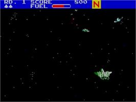 In game image of Zaxxon 3-D on the Sega Master System.
