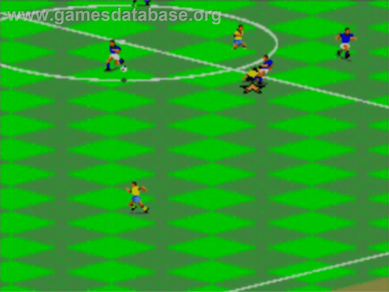 In game image of FIFA International Soccer on the Sega Master System.