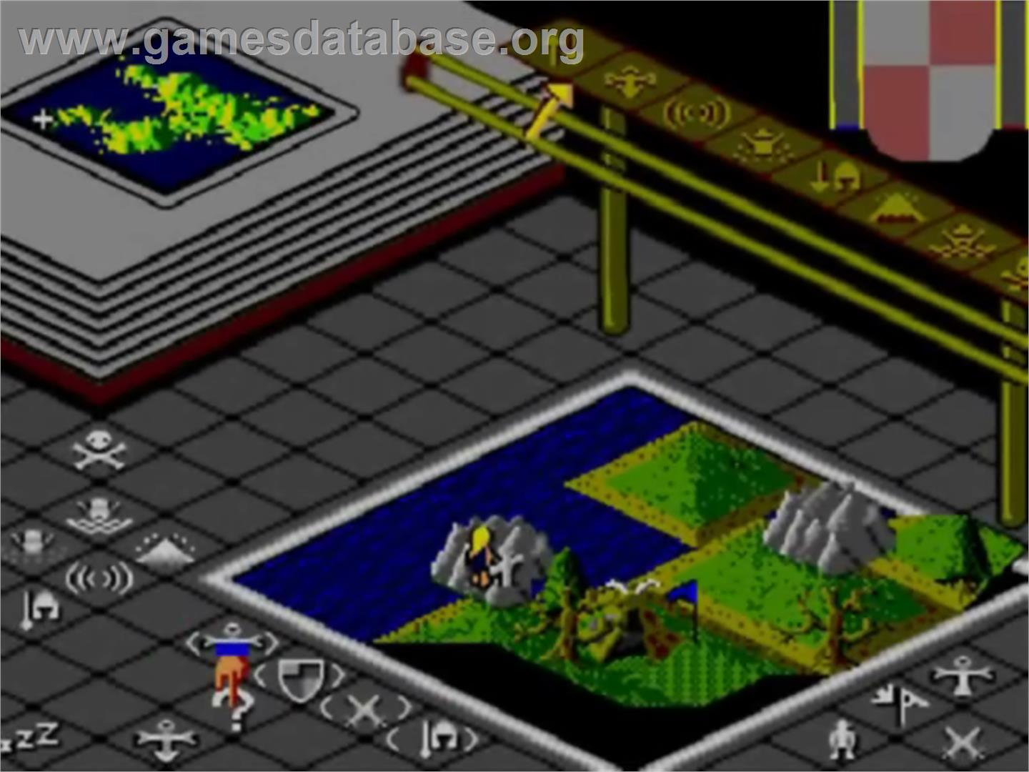 In game image of Populous on the Sega Master System.