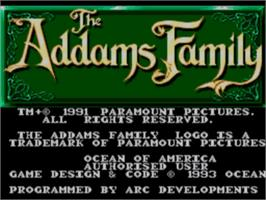 Title screen of Addams Family, The on the Sega Master System.