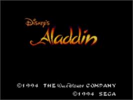 Title screen of Aladdin on the Sega Master System.