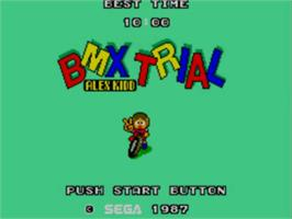 Title screen of Alex Kidd: BMX Trial on the Sega Master System.