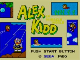 Title screen of Alex Kidd in Miracle World on the Sega Master System.