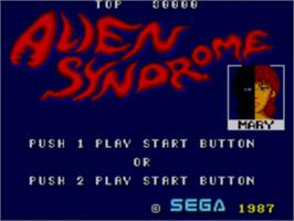 Title screen of Alien Syndrome on the Sega Master System.