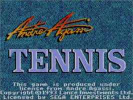 Title screen of Andre Agassi Tennis on the Sega Master System.