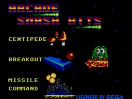 Title screen of Arcade Smash Hits on the Sega Master System.