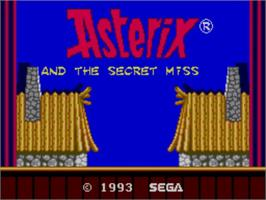 Title screen of Astérix and the Secret Mission on the Sega Master System.