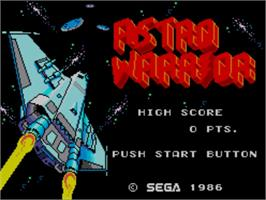 Title screen of Astro Warrior on the Sega Master System.