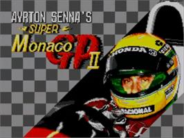 Title screen of Ayrton Senna's Super Monaco GP 2 on the Sega Master System.