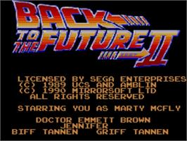 Title screen of Back to the Future 2 on the Sega Master System.