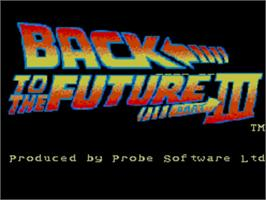 Title screen of Back to the Future 3 on the Sega Master System.
