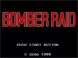 Title screen of Bomber Raid on the Sega Master System.