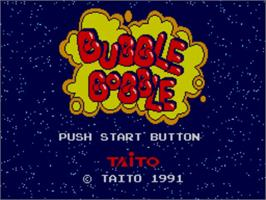 Title screen of Bubble Bobble on the Sega Master System.
