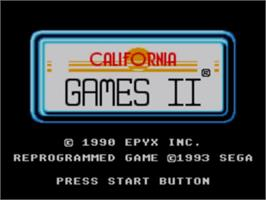 Title screen of California Games 2 on the Sega Master System.