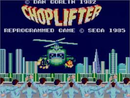Title screen of Choplifter on the Sega Master System.