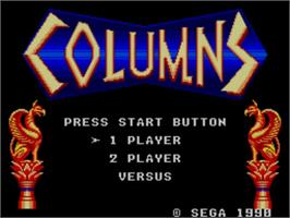 Title screen of Columns on the Sega Master System.