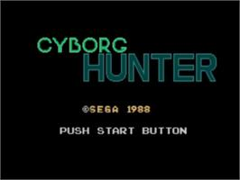 Title screen of Cyborg Hunter on the Sega Master System.