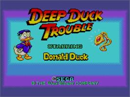 Title screen of Deep Duck Trouble starring Donald Duck on the Sega Master System.