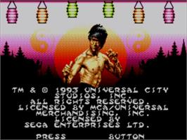 Title screen of Dragon: The Bruce Lee Story on the Sega Master System.