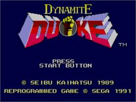 Title screen of Dynamite Duke on the Sega Master System.