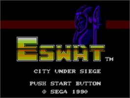 Title screen of E-SWAT: City Under Siege on the Sega Master System.