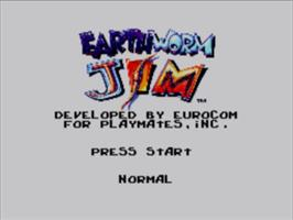Title screen of Earthworm Jim on the Sega Master System.