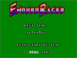 Title screen of Enduro Racer on the Sega Master System.