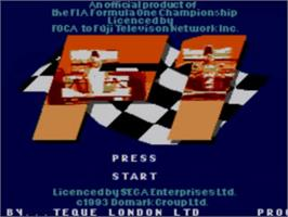 Title screen of F1 on the Sega Master System.