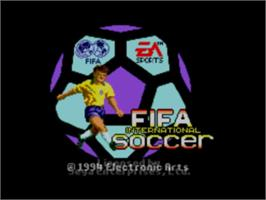 Title screen of FIFA International Soccer on the Sega Master System.