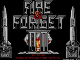 Title screen of Fire and Forget 2: The Death Convoy on the Sega Master System.