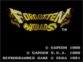 Title screen of Forgotten Worlds on the Sega Master System.