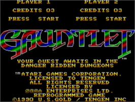 Title screen of Gauntlet on the Sega Master System.
